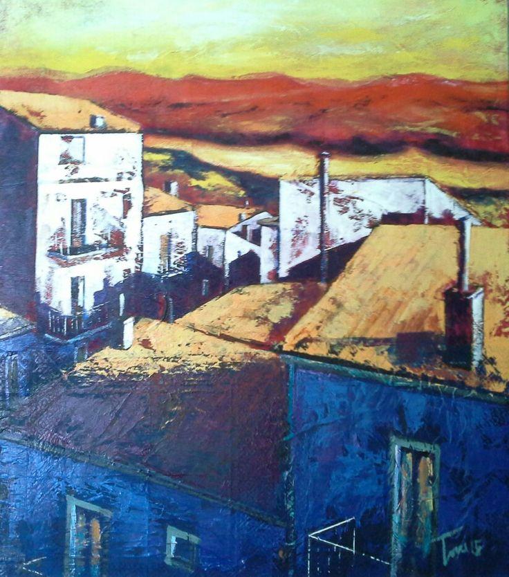 Tetti 60x60 cm mixed on mdf Luigi Torre painter 2015