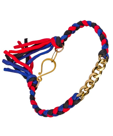 Blue and Red Silk Gold Filled Curb Chain Bracelet