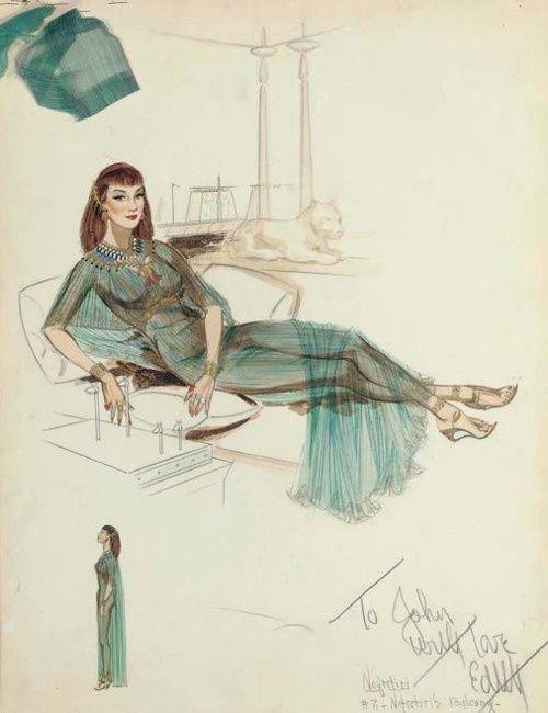 Edith Head - Esquisses et Croquis - Costumière - Les Dix Commandements - 1956 - Anne Baxter - Néfertiti
