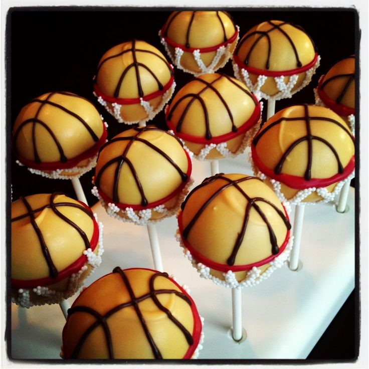 Basketball Cake Pops by heavenly cake pops
