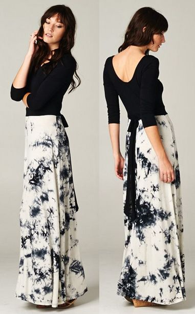 Tie dye contrast maxi dress #wearabledesign
