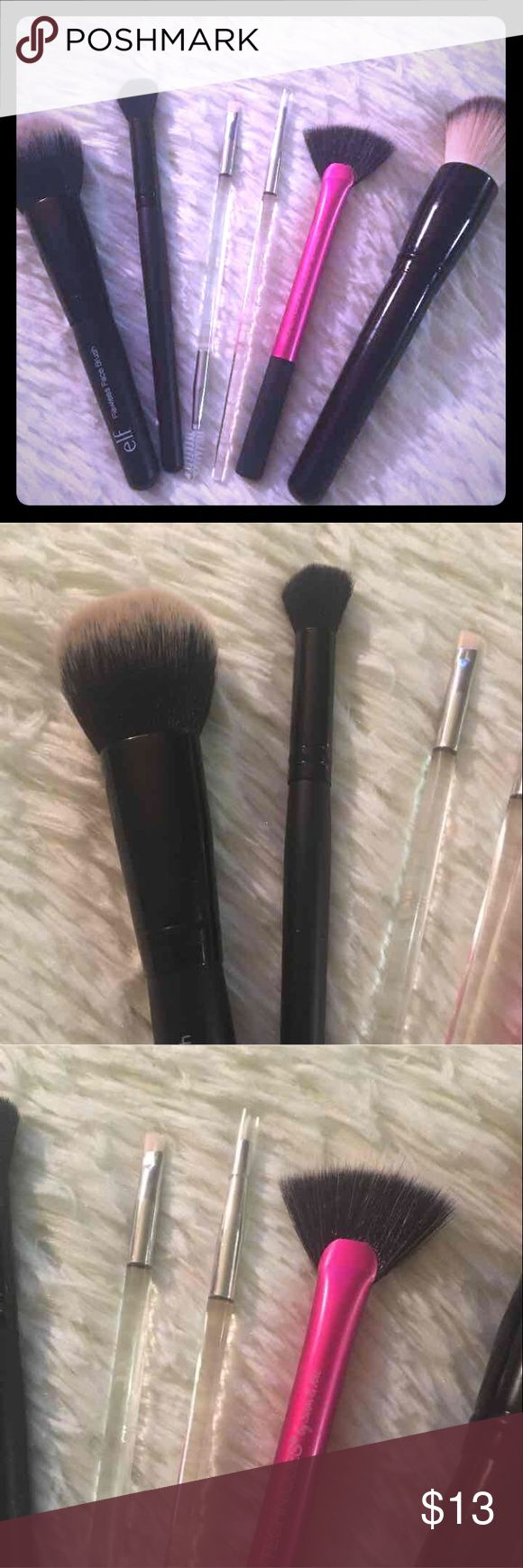 Make up brush bundle!!! 6 Piece Make up brush bundle!!! NEW!!! - coastal Scents flat topped face brush dual fiber - ELF flawless face brush -ELF flawless concealer brush - elf crystal beautifully precise dual ended eyebrow brush - elf crystal beautifully precise liner brush  - Real Techniques Fan Brush duo fiber ELF Makeup Brushes & Tools