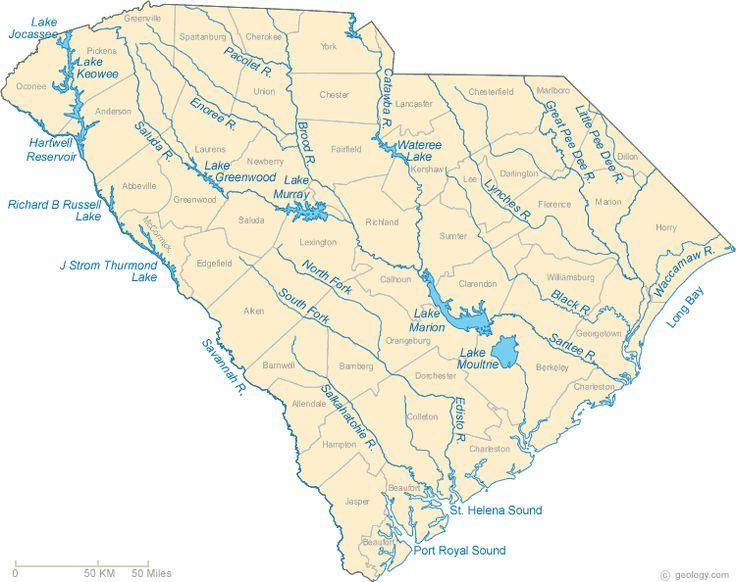 South Carolina Lake Map River Map And Water Resources