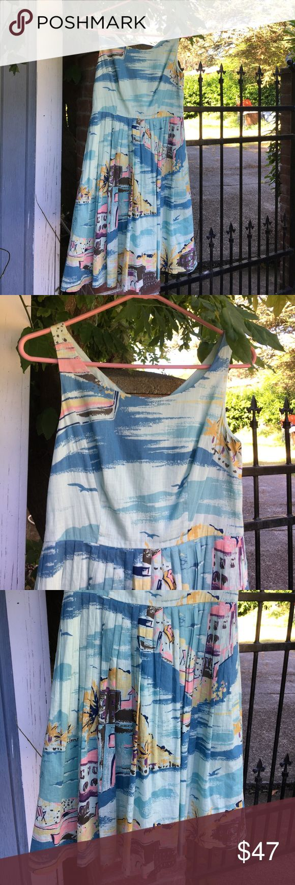 Boden summer dress, pockets! 4p 100% cotton lined retro pattern summer dress by Boden. Small pleated, teal green and blue with mustard yellow, pink and brown beach villa illustration. Side zipper. Size 4 petite. Like new. Absolutely lovely. Boden Dresses Midi