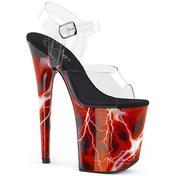 extrem high heels sandaletten plateau rot
