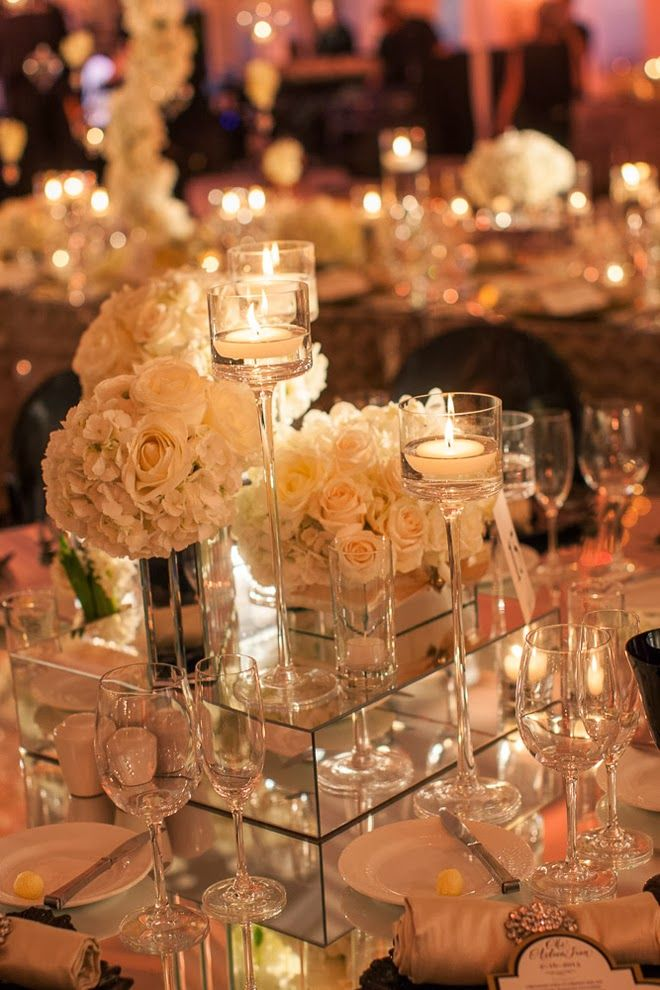Mirrors and candlelight ~ The Best Wedding Centerpieces of 2013 ~ Photography: Victor Sizemore Photography   bellethemagazine.com