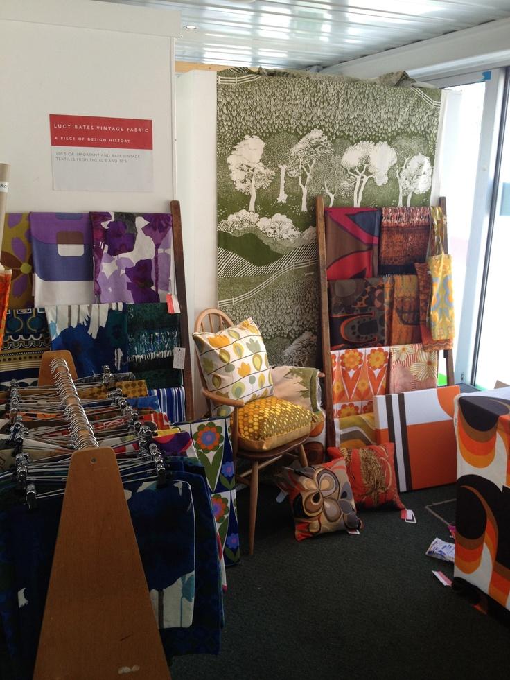 Midcentury fabrics and cushions by Lucy Bates http://www.lucybatesvintagefabric.co.uk/