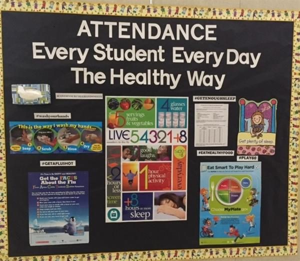 Bulletin Board for attendance and healthy habits from school nurse. Uses hashtags and posters for easy assembly and a modern message!
