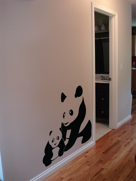 Mom And Baby Panda Wall Decal Custom Vinyl Art Stickers