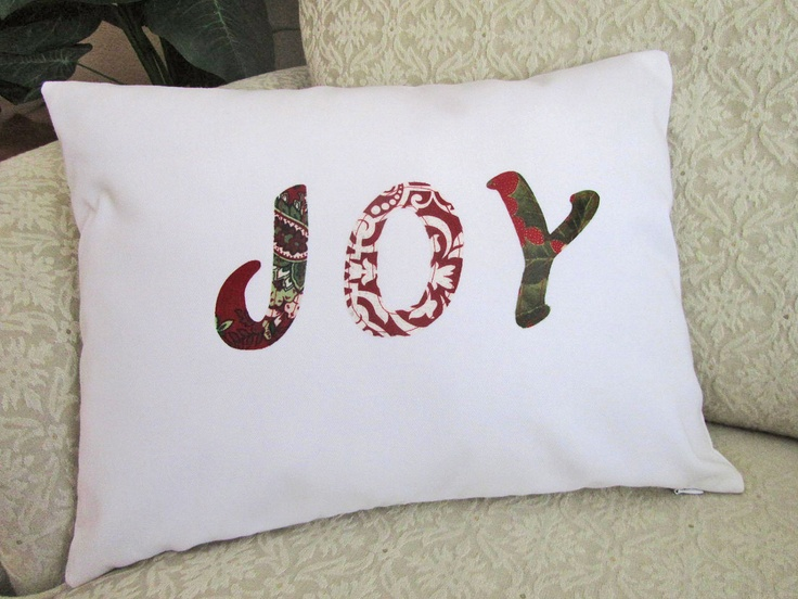 christmas applique pillow cover cushion throw cover red white green joy 12 x 16 holiday