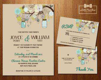 Mint Rose Gold Wedding Invitation Bundle by LittlePinkBowDesigns