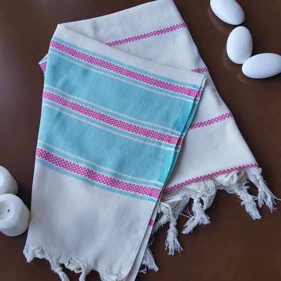 Check out this item in my Etsy shop https://www.etsy.com/listing/460397130/pink-blue-striped-towel-decorative-bath