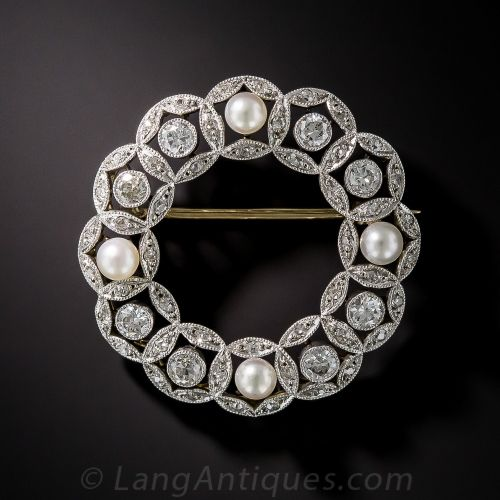 Edwardian Diamond and Pearl Wreath Brooch.
