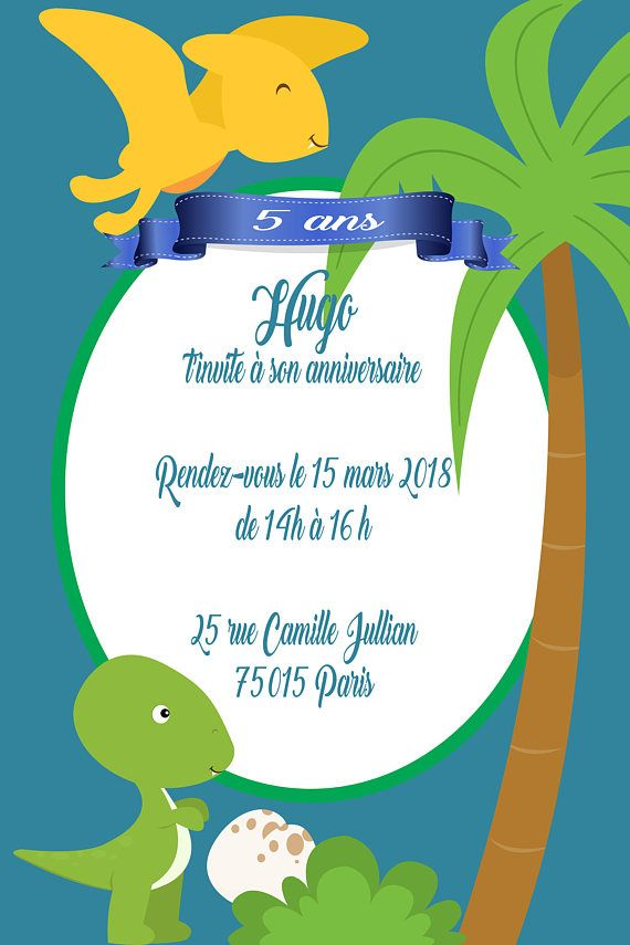 6 Cartes Invitation Anniversaire Dinosaure Format 10x15 Cm