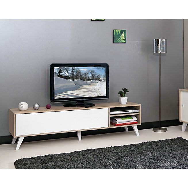 25 best images about meuble tv style scandinave on for Meuble tele blanc