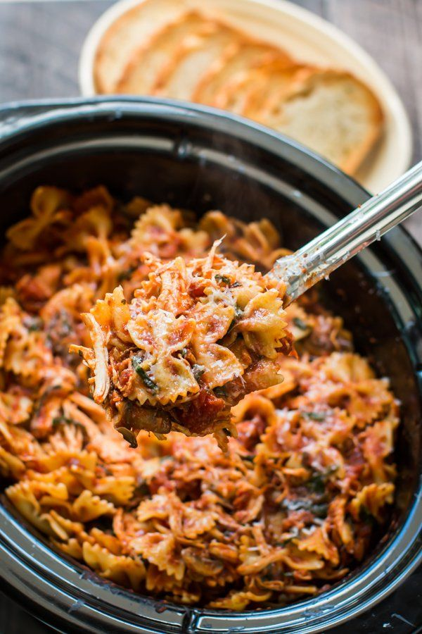 Slow Cooker Chicken Bacon Pasta. Made with @ragu pasta sauce. Great for feeding a crowd! #ad