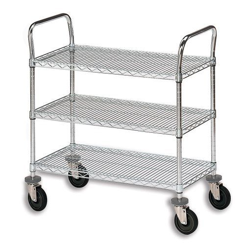 """OLYMPIC Three-Shelf Double-Handle Round-Post Wire Utility Carts by C&H. $389.00. Transport and store a multitude of items in the warehouse or office on OLYMPIC Three-Shelf Double-Handle Round-Post Wire Utility Carts. Open wire design improves visual checks of contents, permits light and air flow, and will not accumulate dust like solid shelving. Shelves adjust in 1"""" increments along double-notched posts. Chrome wire shelves and chrome posts. 800-lb. capacity. 5"""" rubber swivel..."""