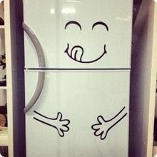 Cute Fridge sticker Happy Yummy Face Kitchen Fridge Vinyl Wall Sticker Art Refrigerator Wall Decals Home Decor(China)