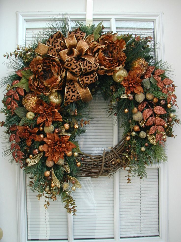Winter Wreath After Christmas Wreath Large Spray Brown Copper Rust Florals Front Door Decoration Grapevine Wreath Beaded Sugared Fruit by PetalsNPicks on Etsy https://www.etsy.com/listing/215774259/winter-wreath-after-christmas-wreath