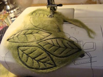 Quilting leaves on needle felted surface