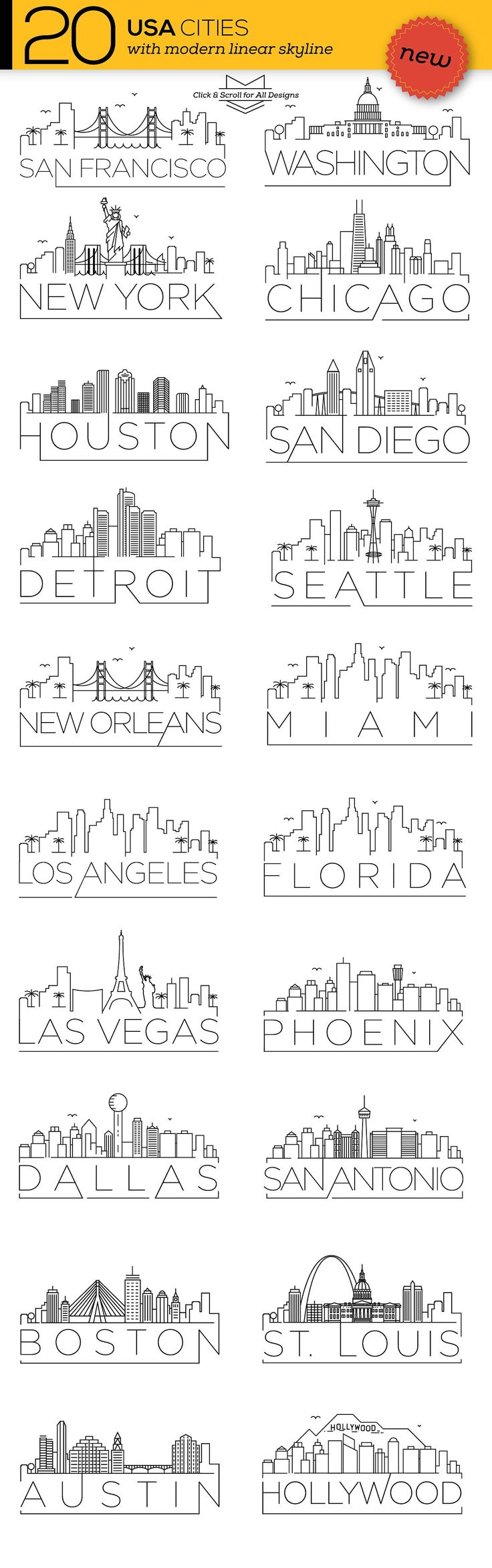 20 USA Cities Linear Skyline by Avny on @creativemarket