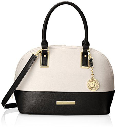 Anne Klein Shimmer Down Dome Satchel Top Handle Bag, Magnolia Black, One Size