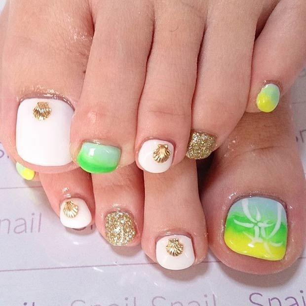 25+ beautiful Turquoise toe nails ideas on Pinterest
