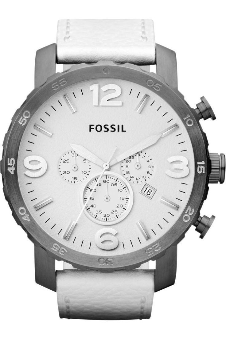 Fossil Watches, Men's Nate Chronograph Leather Watch - White #JR1423