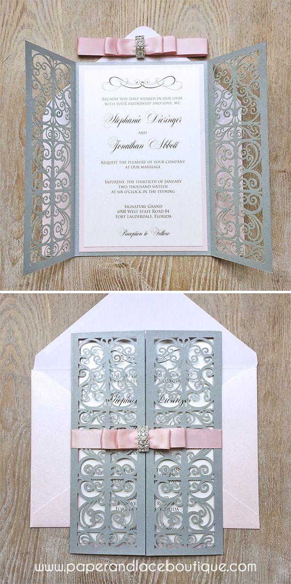 Blush And Silver Laser Cut Wedding Invitation