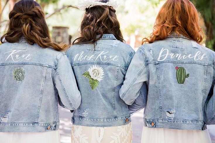 custom calligraphy boho jean jackets