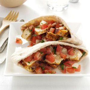 Spicy Chicken Tomato Pitas-if you want to go low carb just skip the pita's and add to salad greens. ***