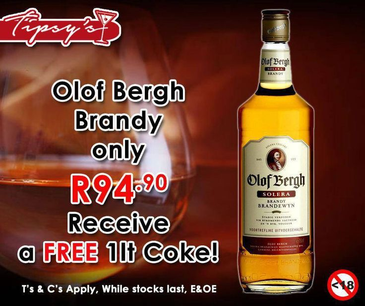 Get a 750ml of #OlofBergh Brandy for only R94.90 and receive a free 1ltr #CocaCola from #TipsysLiquorBoutique. For more great specials, please click here: http://ablog.link/3go. Prices valid until 1 August 2015 or while stocks last, T's & C's Apply, E & OE. Not for Sale to Persons Under the Age of 18. Drink Responsibly.