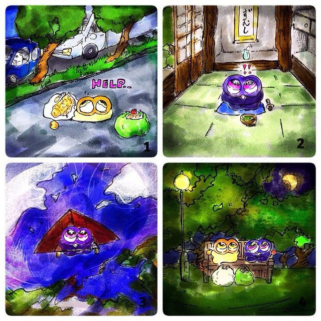 "Miz manga 008 ""Wherever You Are, Miz Ninja Comes to Save You Soon"" Check it on the website! http://run-mizumushi-kun.com/mini-manga/miz-ninja-comes-to-save-you-soon #mizumushikun #manga #artwork #art #story #ninja #comic #color #vivid #aliens"