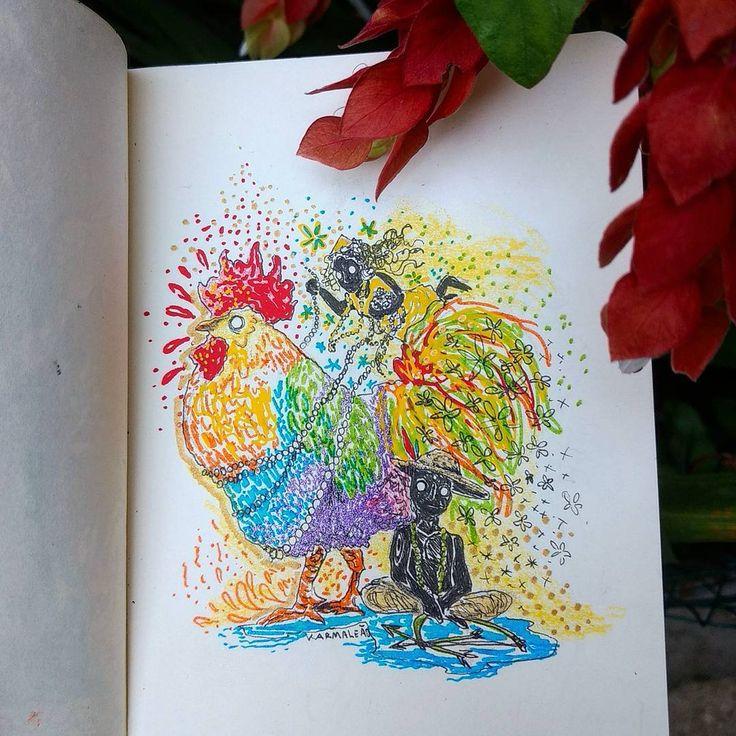 Primeiro de 365 desenhos. Começando com os orixás que cuidam desse ano, Oxum e Oxóssi, no ano do galo, segundo o horóscopo chinês. Que seja um bom ano! ❇. . . #art #arte #painting #pintura #illustration #ilustração #artoftheday #desenho #dibujo #drawing #mystic #mysticism #happynewyear #colorful #felizanonovo #anodogalo #galo #sketchbook #oxossi #oxum