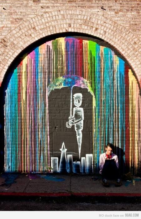 I super duper enjoy this. Rainbow rain, robot with umbrella, little sad indie bo…