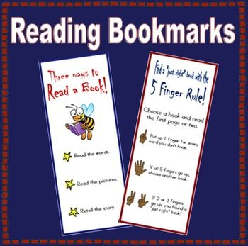 "This FREE bookmark reminds the children how to choose a ""just right"" book using the 5 finger rule."