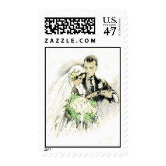 Vintage Wedding Postage Stamp