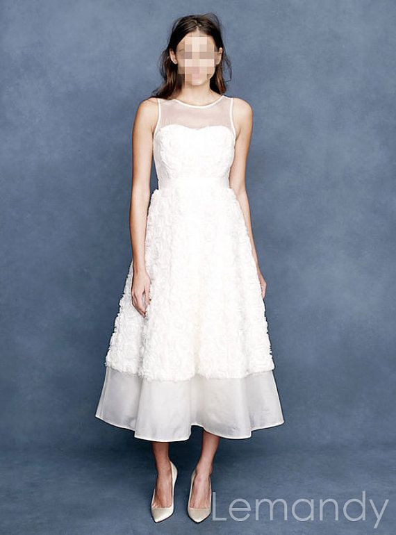 etsy tea length wedding dress. tea-length round neck sleeveless a line organza and lace wedding dress. $188.00, etsy tea length dress