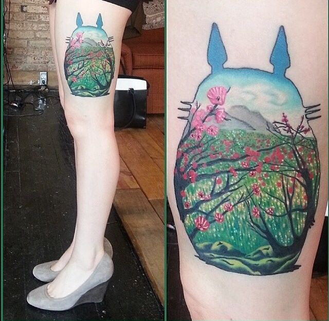 20 best Sister Totoro Tats images on Pinterest | My ... Totoro Thigh Tattoo