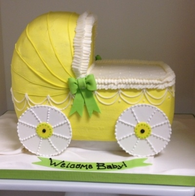 Baby Carriage Cake - Buttercream finish By BBSpecialtyCakes on CakeCentral.com