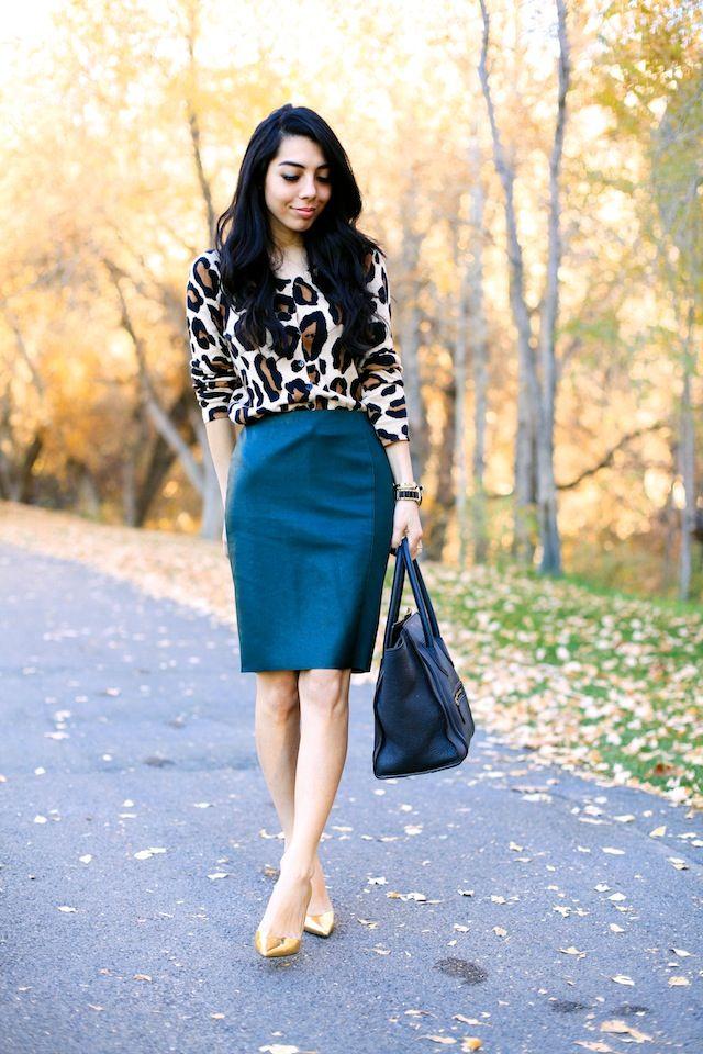 animal print cardi or similar color blazer & teal skirt & rose gold pumps