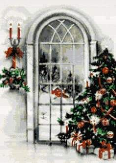 Christmas tree at window cross stitch kit or pattern