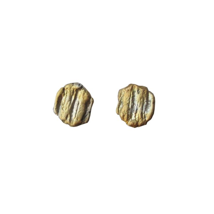 Sterling silver stud earrings/gold plated --- Mini nugget series -- Exclusive designs