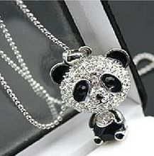 Lovely rhinestone panda necklace crystal accessories sweater chain pendant necklace statement jewelry for women Christmas gift(China (Mainland))