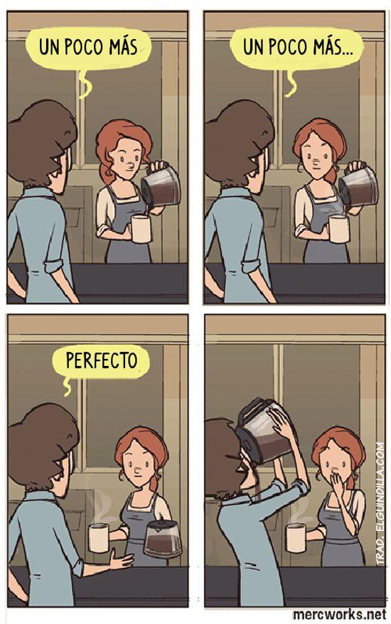Spanish jokes, chistes. Visual joke - coffee. ¡Un poco más de café! #learn #spanish #jokes