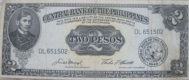Front: portrait of JOSE RIZAL; seal of the Central Bank of the Philippines; serial number DL651502; and signatures of Diosdado Macapagal  (President of the Philippines) and Andres Castillo (Governor of Central Bank: 1961-1967).  Back: The Landing of Magellan in the Philippines