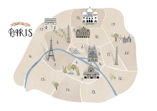 Paris Map by Clare Owen Illustration, via Flickr