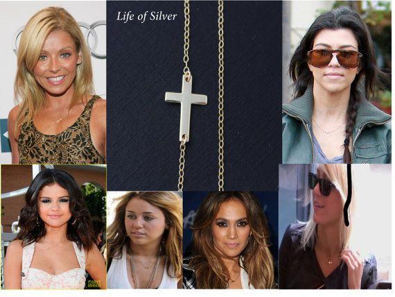 Kelly Ripa Sideways GOLD Cross Necklace, Taylor Jacobson Horizontal Cross Necklace, Side Cross Necklace