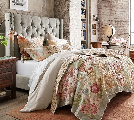 Harper Upholstered Tufted Tall Bed & Headboard | Pottery Barn