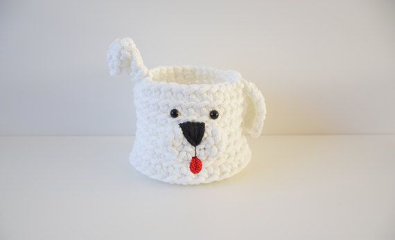 Nursery basket dog  Crochet basket puppy Round box Desk